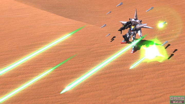 特殊射撃は、自機の周囲に展開したドラグーンからのビーム一斉射撃。展開と射出はレバー入力で切り分けることができる