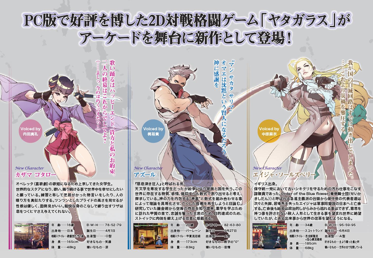 「カザマ・コタロー」、「アズール」、「エイジャ・ソールズベリー」の3キャラクター