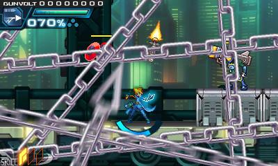 ガンヴォルトの必殺技。無数の鎖が画面を埋め尽くし高圧電流を流す全体攻撃