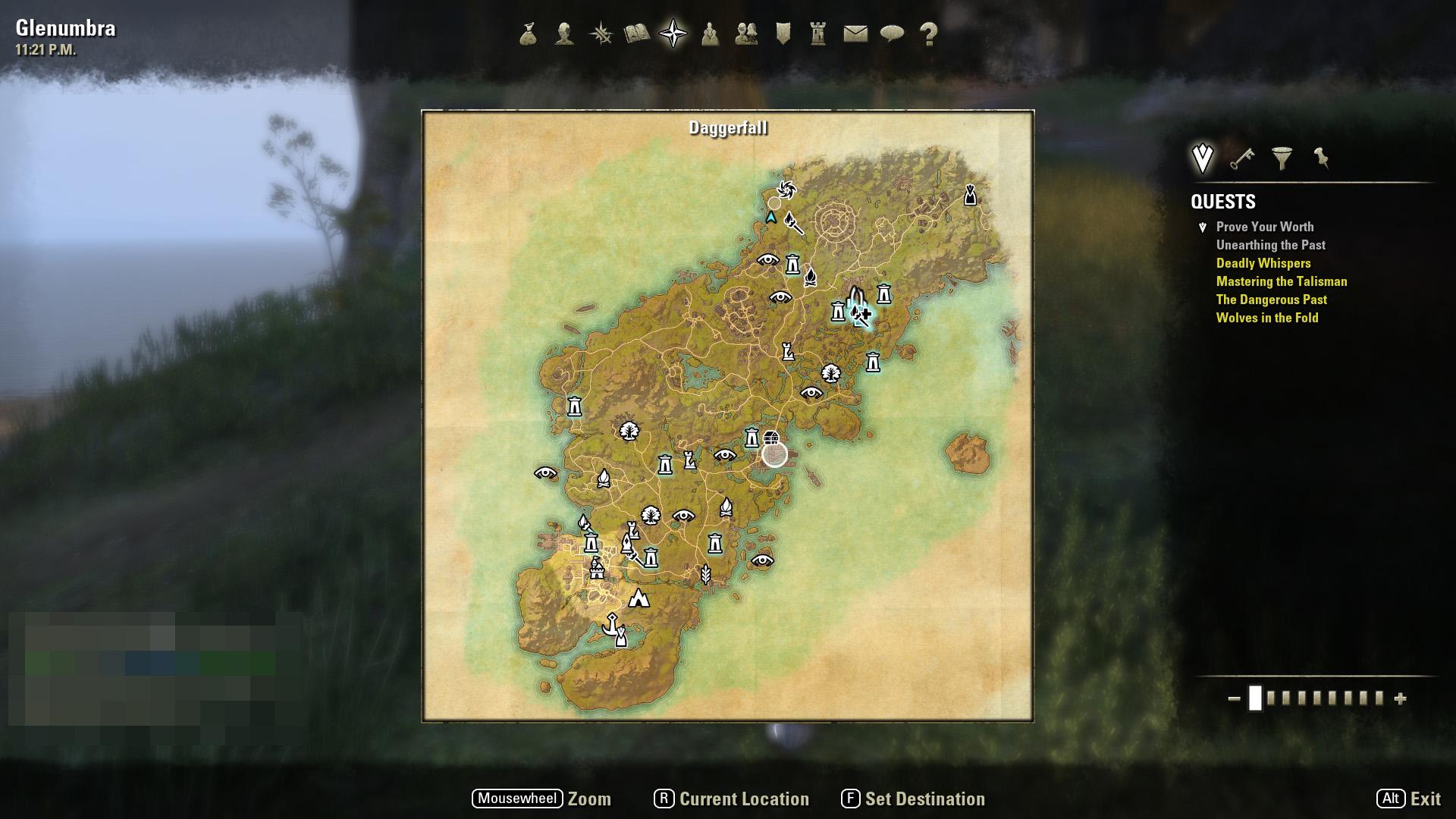 Daggerfall周辺地域。南にあるDaggerfallから北に冒険の地域は広がっていく