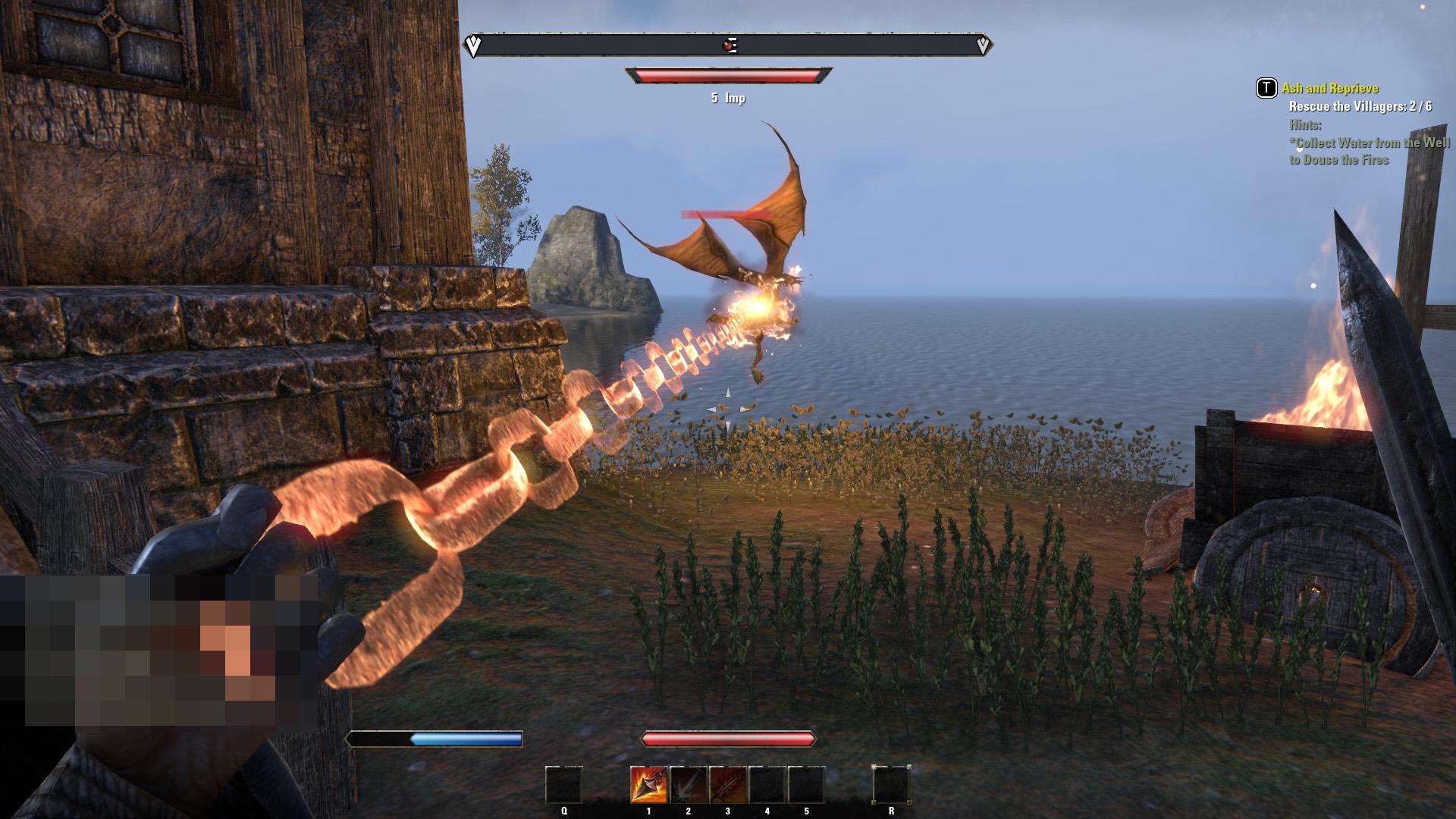 燃える鎖で敵を引き寄せる「Fiery Reach」