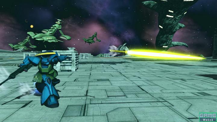 ビーム・ナギナタを投擲する特殊射撃。放物線を描いて飛んでいく独特な軌道をマスターすれば、強力な攻撃となる
