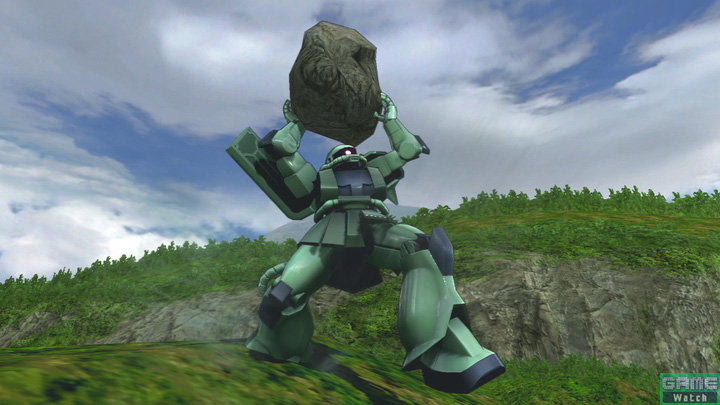 大きな岩を両手で投げるサブ射撃。ヒット後は敵機がよろけるので、追撃を決めるチャンス。追撃は確実に決めていこう