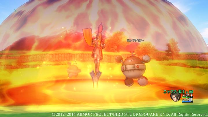 両手剣の特技「ビッグバン」。周囲を爆炎で包み込み、敵を一掃するという強力な攻撃を放つ