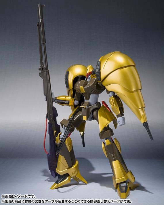 腰パーツを差し替えることで、「ROBOT魂」シリーズのバッシュやエルガイムMk-IIなどが持つバスターランチャーが装備可能に