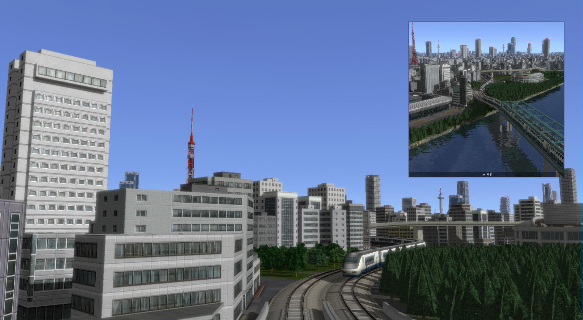 貨物列車もは、石油タンクや石炭などを運ぶことが可能。メイン画面中に、小さなワイプ画面で追跡/車窓モードを表示するピクチャー・イン・ピクチャー機能を搭載