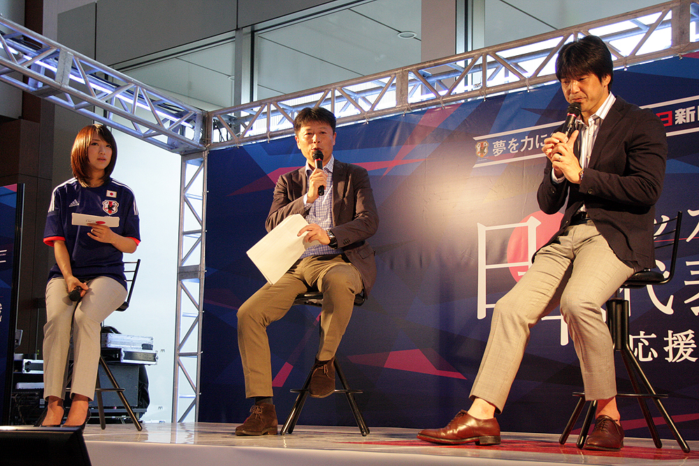 トークショー「世界と戦うために」では名波氏に大会の見所や予想をしてもらった