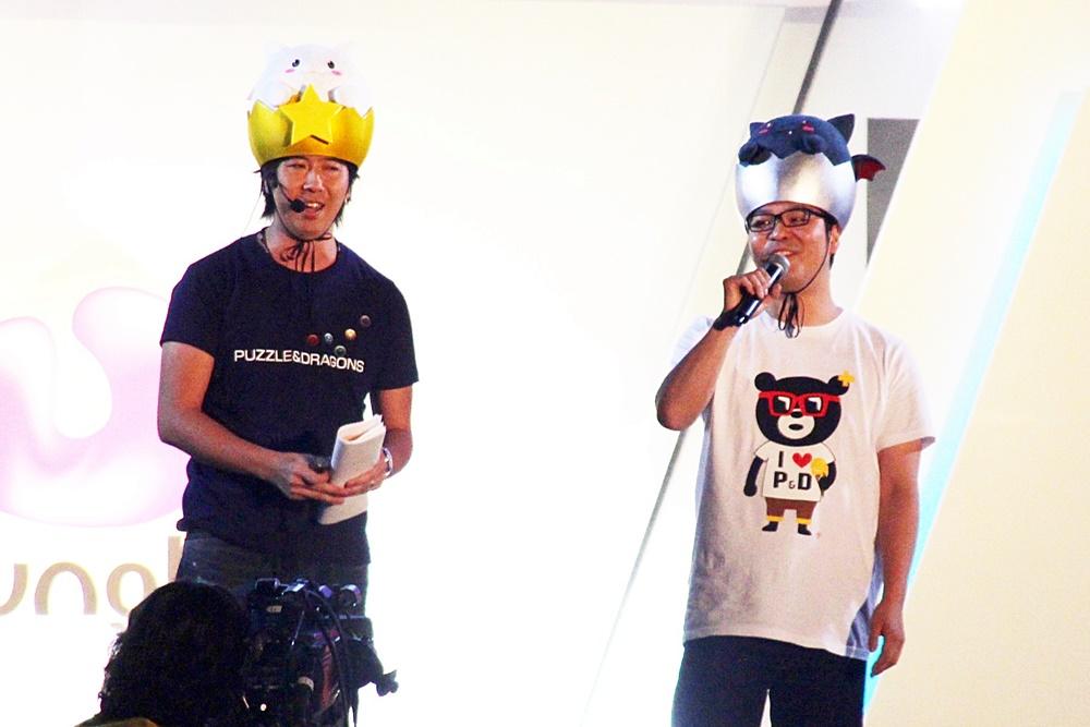 左から、ガンホー代表取締役社長の森下一喜氏と「パズドラ」プロデューサーの山本大介氏