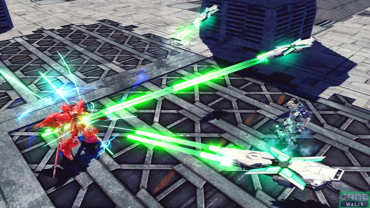 ハンド・グレネ各種武装をパージし、自機周辺に敵を痺れさせる光を発する特殊格闘。発光と同時にシールドが飛び立ち、ビーム・ガトリングガンを連射した後で体当たりをする。技の開始と同時に、形態が変わる