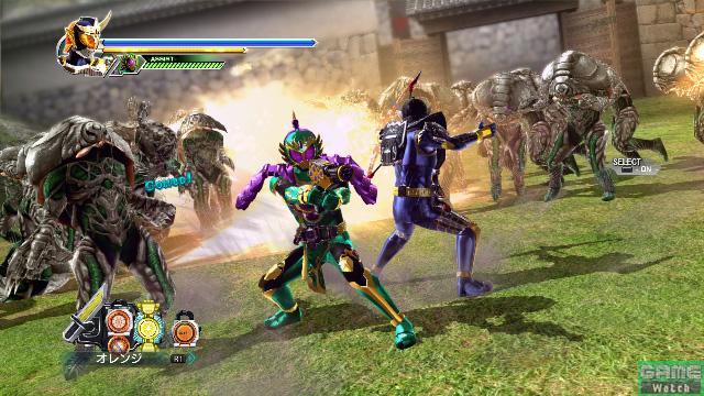仮面ライダー龍玄がパートナーとして登場。テレビ同様のコンビネーションで鎧武の危機を救う