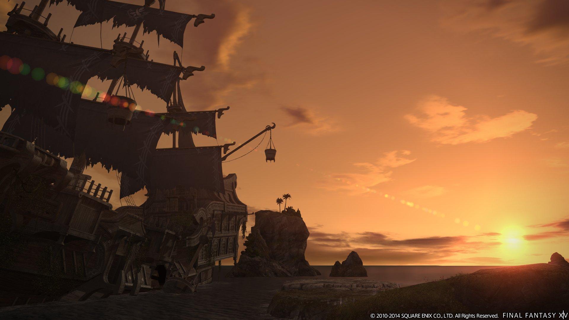 伝説の海賊王「霧髭」の船と美しい夕日。他のスクリーンショットが昼間なのに、なぜこれだけ夕方なのか、謎が残る1枚だ