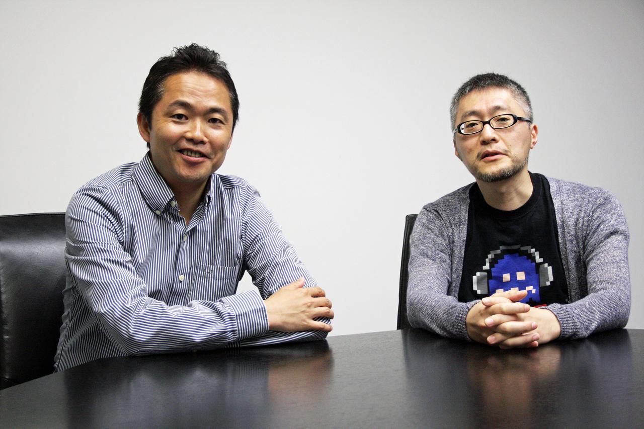 左がゲームフリークの取締役、開発本部部長を務める増田順一氏。右が同じくゲームフリークの取締役でありアートディレクターの杉森建氏。お2人とも25年前に「クインティ」の開発に深く深く関わったメンバー。当時を振り返ってお話しいただいた