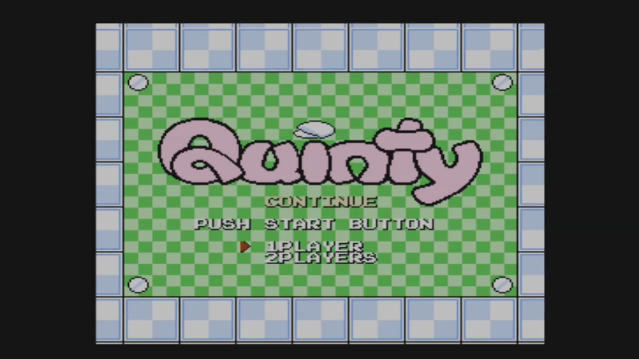 「クインティ」のメニュー画面。バーチャルコンソール化を心待ちにしていた人も多いのでは?