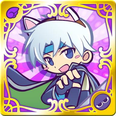 """<strong class="""""""">スキル:</strong>ニャンダーストーム Lv.3(相手全体にこのカードの「かいふく」×8の属性攻撃)<br class=""""""""><strong class="""""""">リーダースキル:</strong>紫属性回復 400UP(紫属性カードの回復力を400アップ)"""