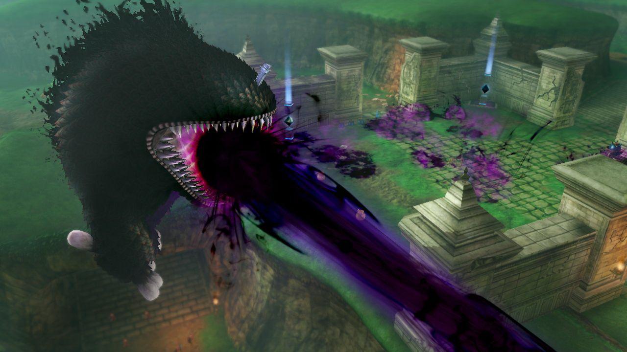 その巨大さ故「封印されしもの」は歩くだけで周りのものを吹き飛ばしていくという、敵ボスとしての風格は抜群だ。さらには、魔力を増幅させてビームを放ち、建物を崩壊させるほどの力を持っている。