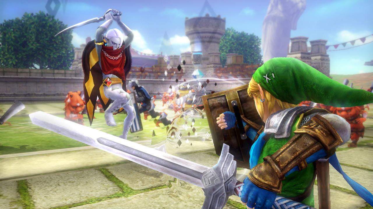 リンクとギラヒムの戦闘シーン。ギラヒムは瞬間移動で間合いをはかりながら、多彩な剣技で迫ってくる