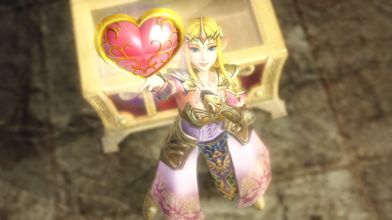 ゼルダが宝箱から「ハートの器」を手に入れたところ。体力がハート1つ分増える