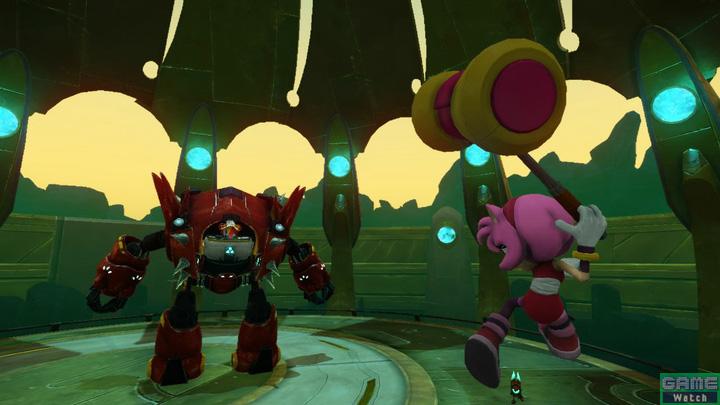 Wii U版のみ、お馴染みの女の子・エミーがプレイ可能に。エミーはソニックより身軽なため、三段ジャンプができる。身軽さを活用し、複雑な足場や細い足場に華麗に飛び乗ることも。また愛用のピコピコハンマーを振り回して迫りくるエネミーをなぎ倒すこともでき、華麗に舞いながら力強くエネミーと戦う、女の子らしいアクションが特徴のキャラクターだ
