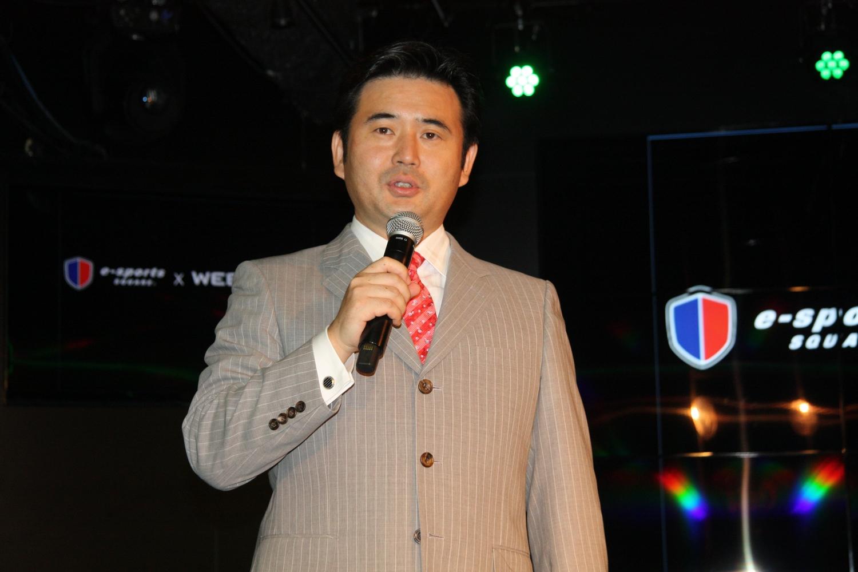 業務提携するSANKO代表取締役社長の鈴木文雄氏はこの機会とばかりにe-Sportsをメディアにアピール