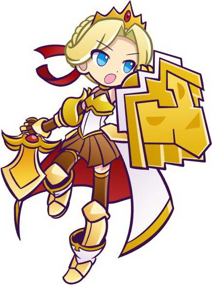"""聖剣アークレイジをたずさえた女戦士。どこから来たのかはナゾに包まれているが、ウワサによるとどこかの王族の姫君らしい<br class="""""""">特攻効果:(初級+6/中級+12/上級+18/超上級+36)<br class="""""""">スキル:王者の剣 Lv.3<br class="""""""">3 ターンの間、1度に消せるぷよ数を5個増やす(同時消し係数を4倍に)。つまり、3ターンの間、なぞり消しで消せるぷよが10個に増える。さらに同時消しの攻撃力が4倍にアップする特殊効果付き!<br class="""""""">リーダースキル:黄の行進Lv.3。<br class=""""""""> スタメンの黄カードが2枚以上から1枚増えるごとに 黄属性の攻撃力倍率に0.3倍プラス。つまり……アレックス以外のカードをすべて黄属性にすれば、最大で2.5倍の攻撃力になる。「アレックス」は期間限定での出現となり、イベント期間終了後は、通常の魔導石ガチャからは出現しない。"""