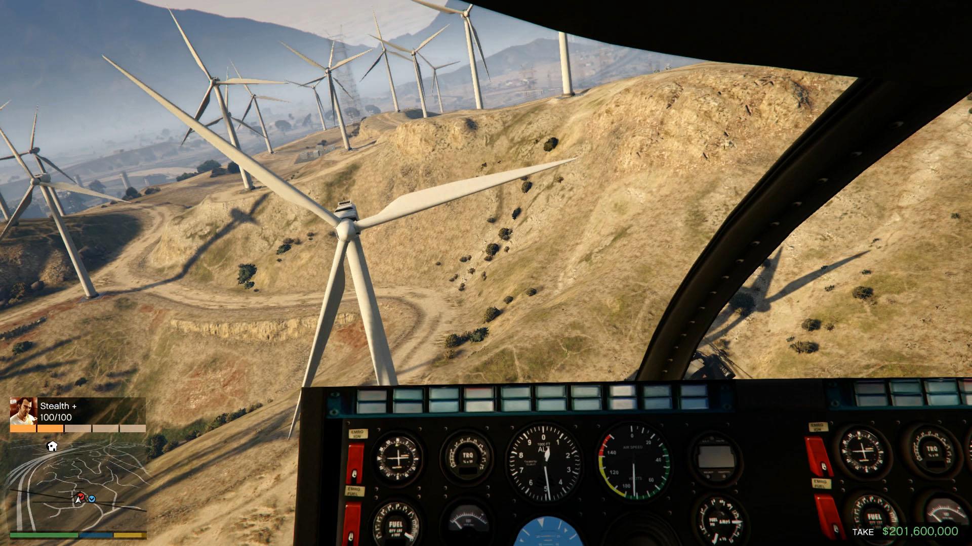 ムービーからスクリーンショットを切り出してみた。風力発電所の風車の間を進む。回る風車がものすごく怖い