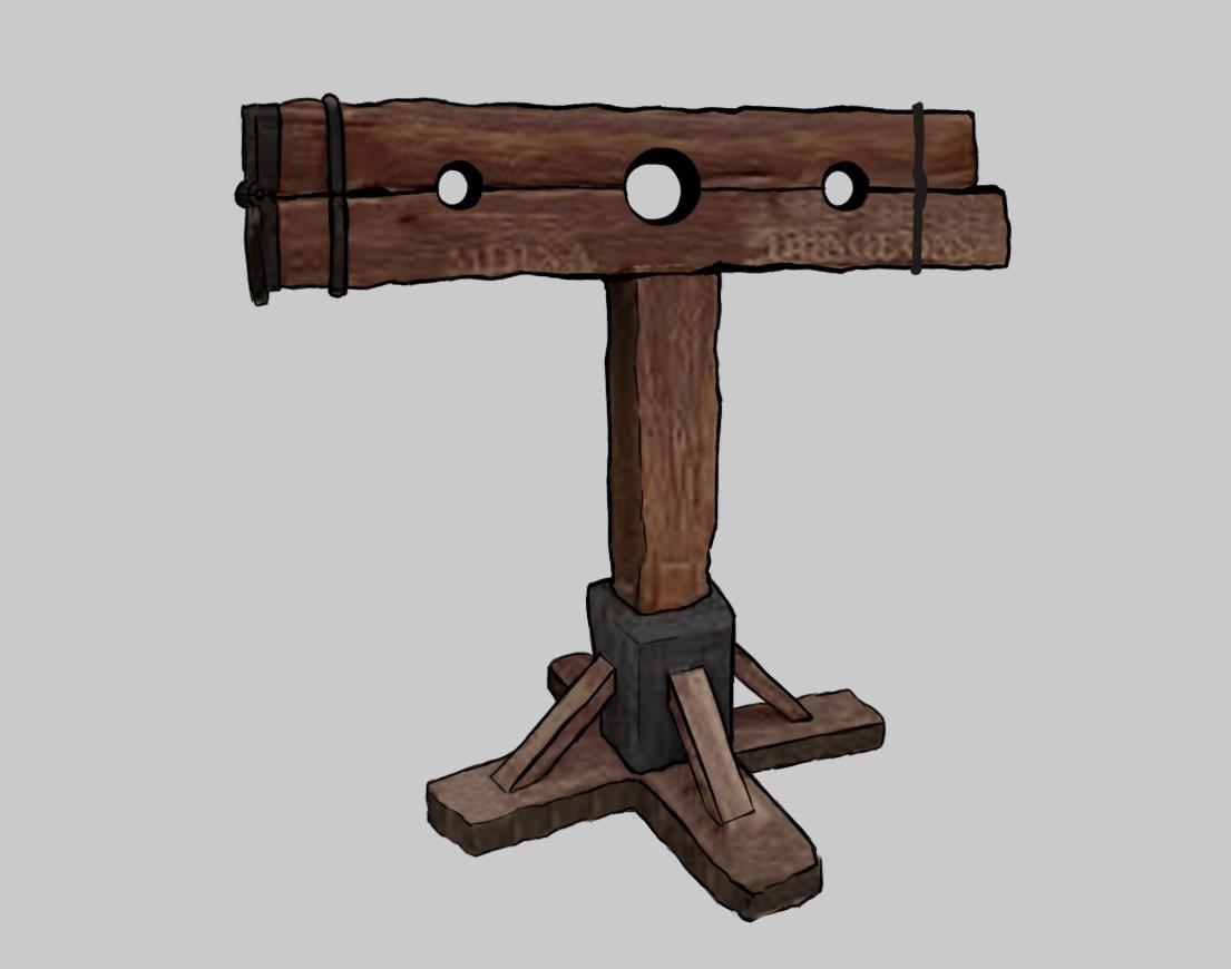 トラップ「サラシダイ」(屈辱 床)。手と首が拘束されて前かがみにされる、伝統的な拷問器具