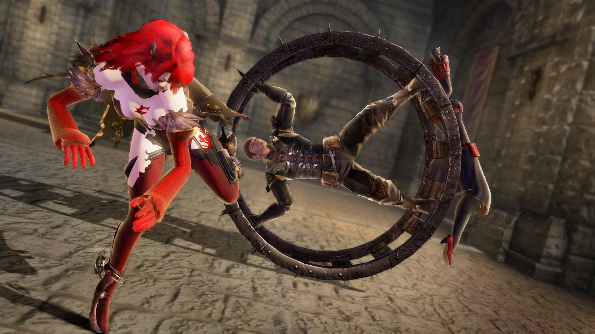 「ゴウモンシャリン」は中心に敵をはめることも可能。側面から吹っ飛ばして中を狙っていく。ステップキックで敵を車輪の側面にふっ飛ばせば中にはめられる