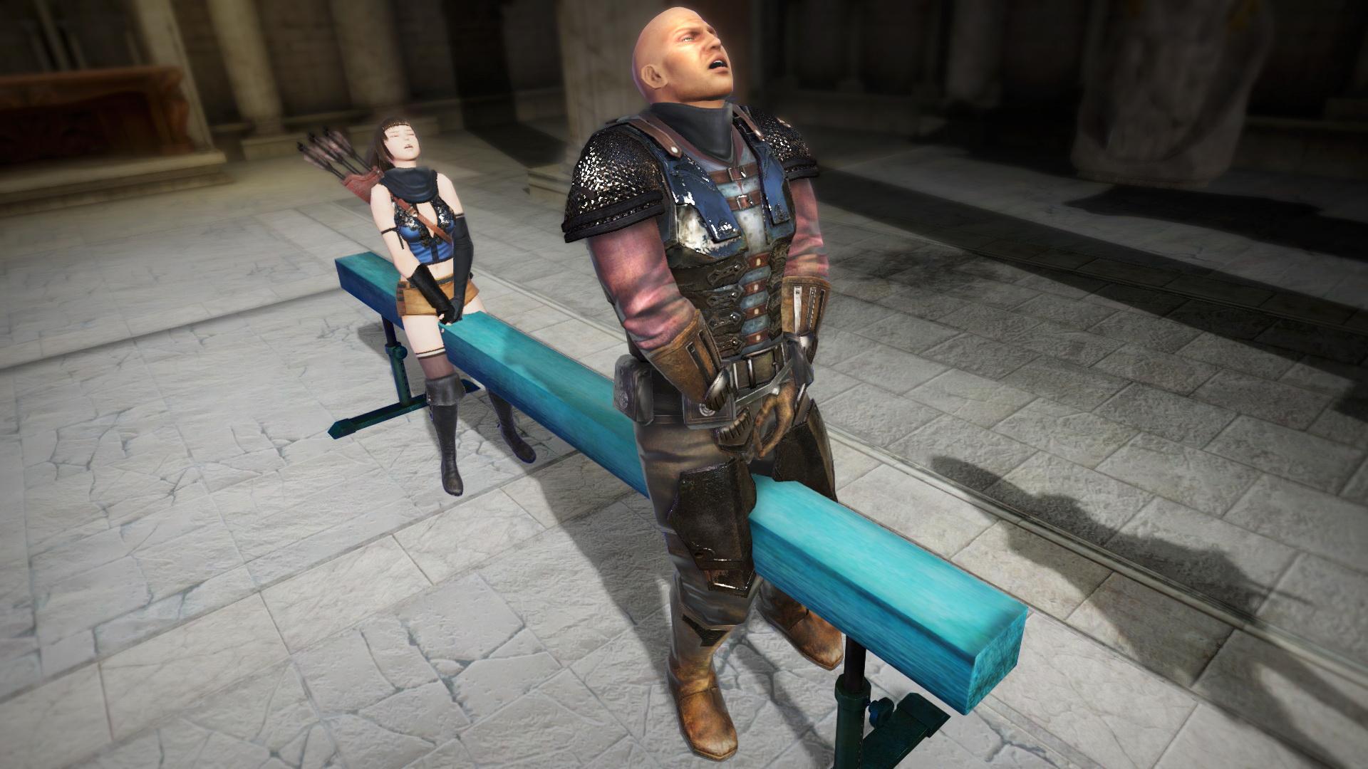 さらに「ヘイキンダイ」をキックで蹴ると、バランスを崩して足を踏み外した敵は、股間を強打……男性は想像したくなる悶絶を感じることであろう!