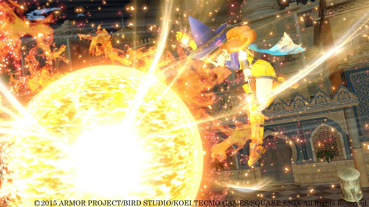 「閃光烈火拳」アリーナが突きだす拳の先に、巨大な火の玉が出現! 周囲の敵を吹き飛ばす