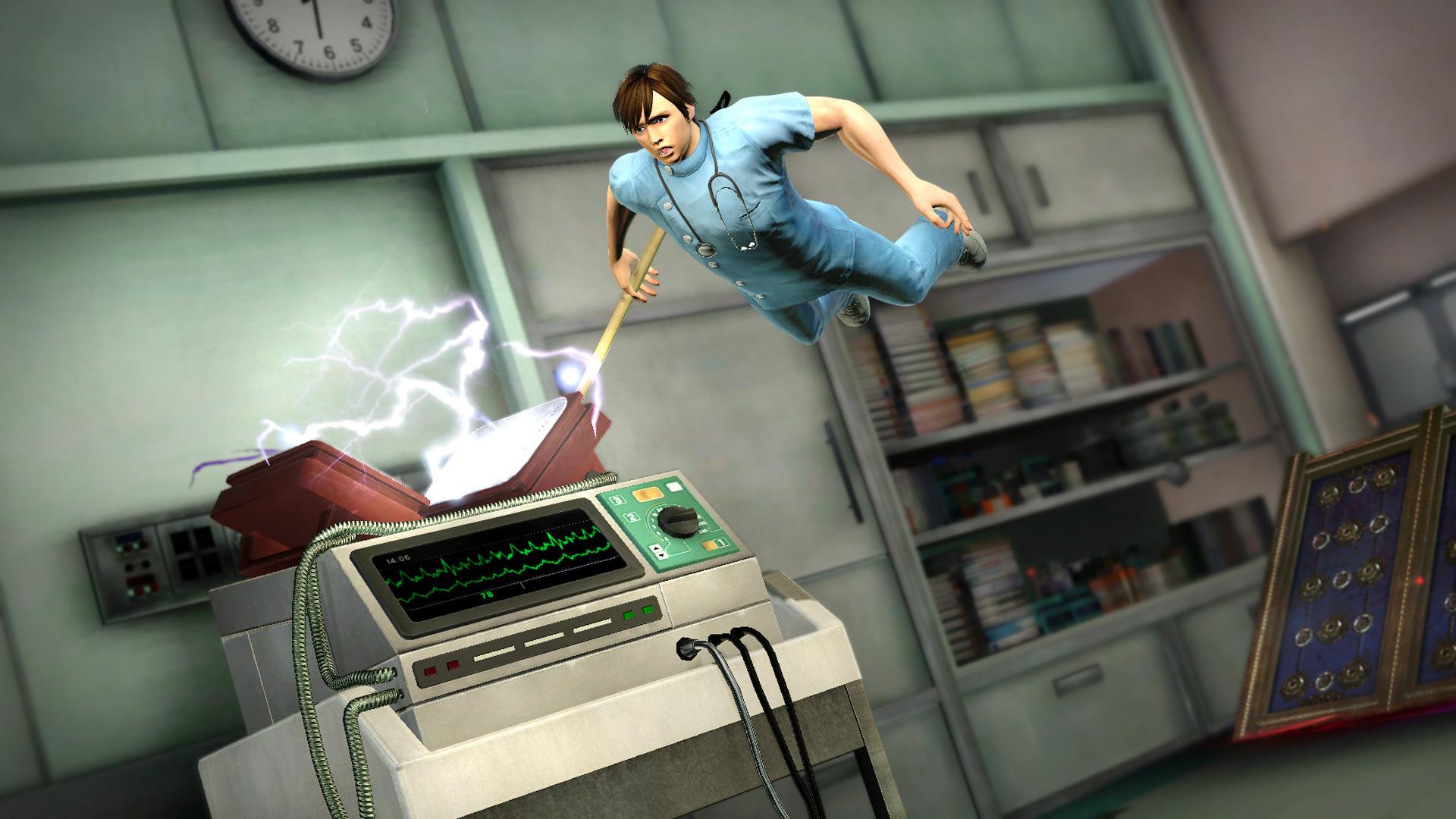 仕掛け「電気ショック」電気ショックに向かって敵をとばし、電気ショックにヒットすると、電撃痺れ状態で跳ね返ってくる