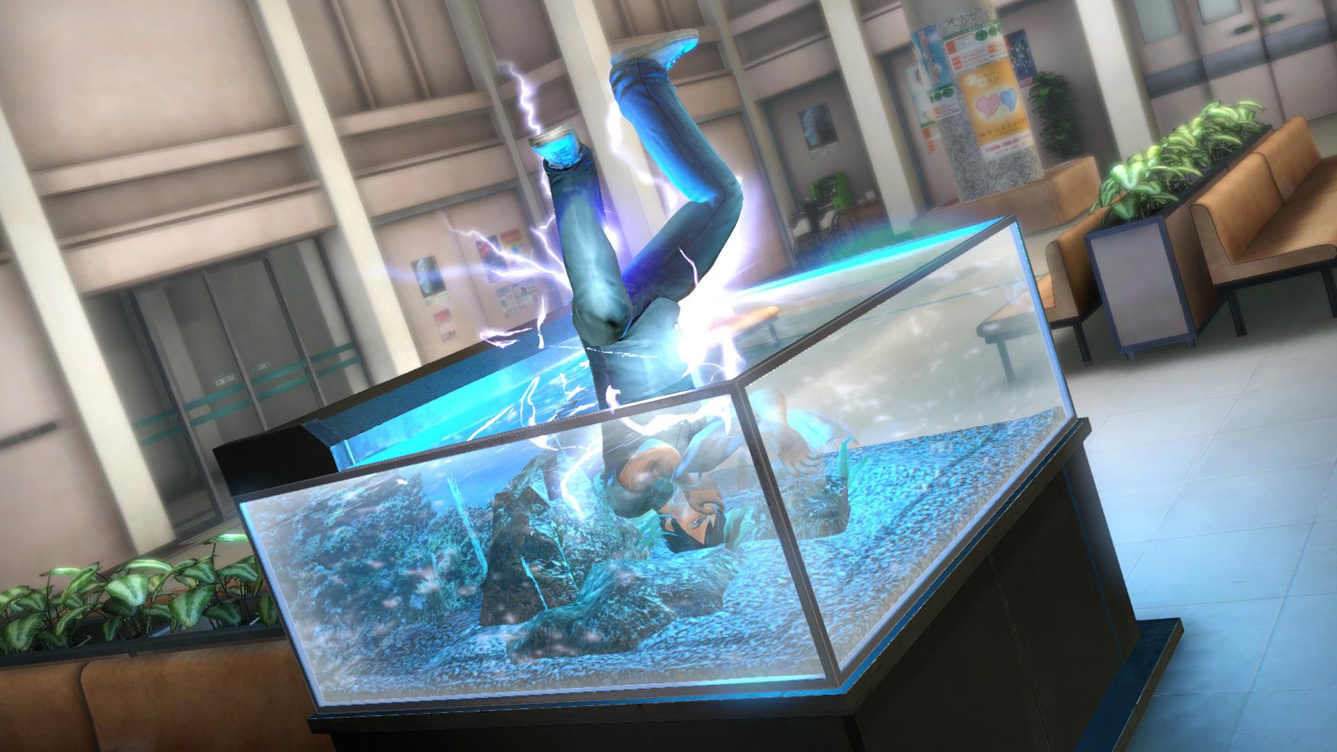 仕掛け「水槽」。キックで打ち上げて水槽に飛ばすと、水槽に頭から落下させることが可能。さらに漏電した電気で痺れさせることもできる