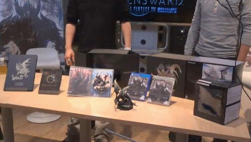 リアルアイテムの特典と、Windows版、PS3版、PS4版のパッケージを並べたところ