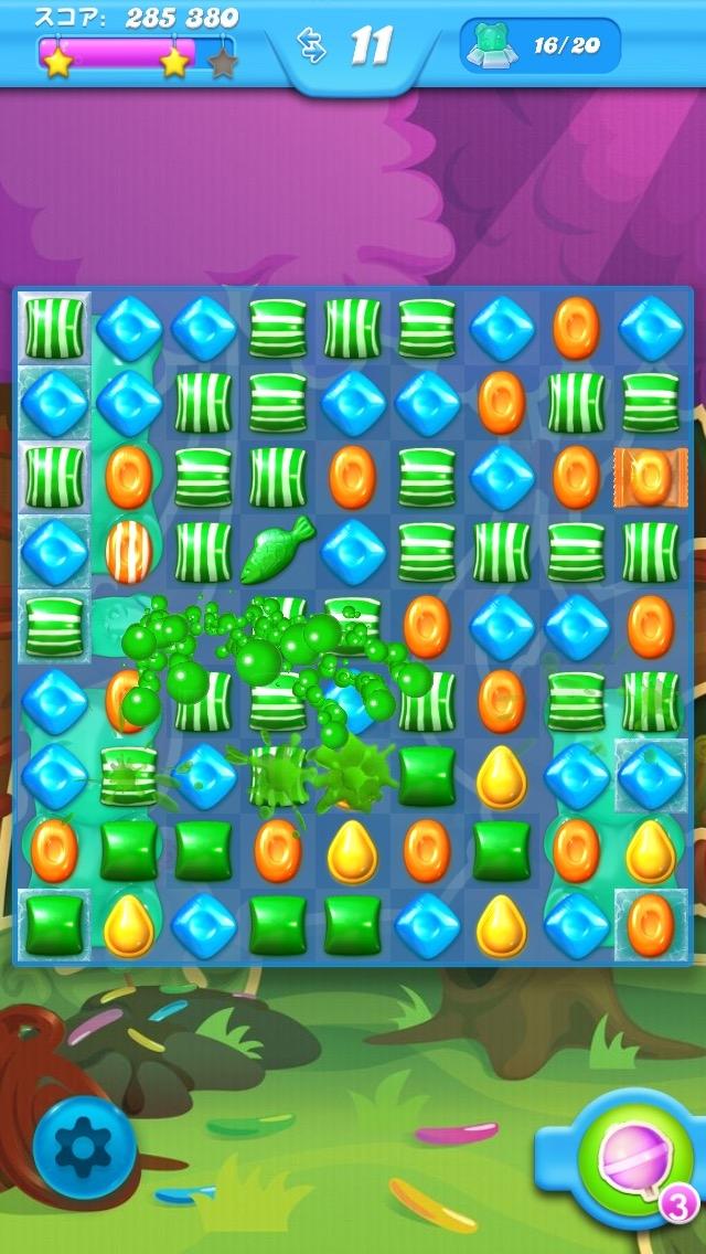 「キャンディーソーダ」の画面。同じ要素でありながら、それぞれ異なった特徴のステージが続々と待ち受ける