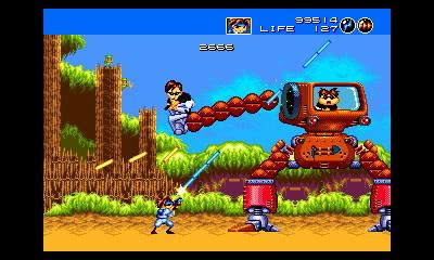 このスクリーンショットの寸前に、森の奥からこの敵ロボットの腕が出てくる驚きの演出が用意されている。3D立体視化されたことで、より臨場感が増している