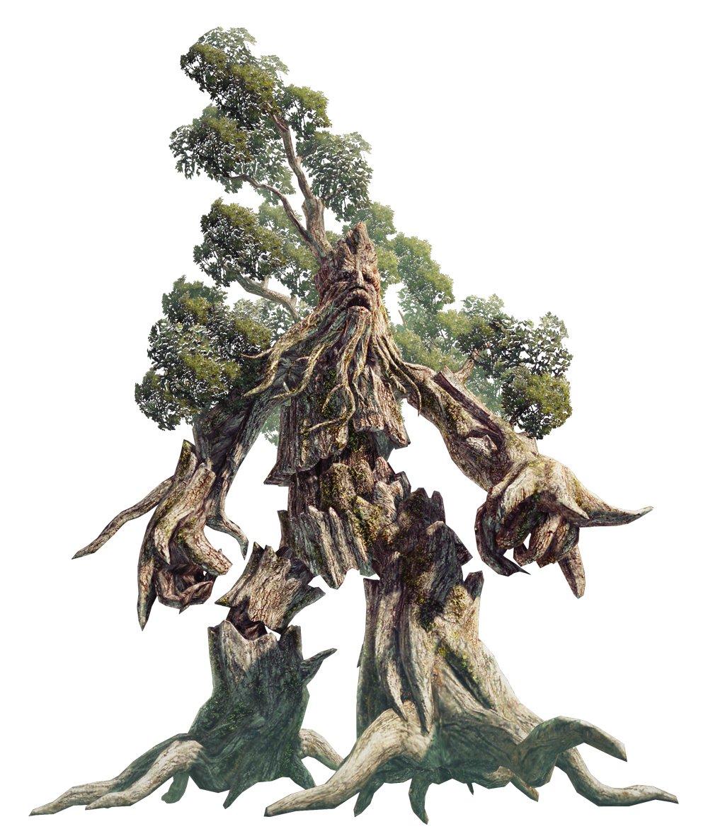 """<strong class="""""""">エント(Ent)</strong><br class="""""""">深い森に生き、地面から根を持ちあげ歩む樹人。元は普通の巨木だったが、竜力の乱れと森を乱す者への怒りにより、魔物と化したと言われている。大地を踏みならす根の足は、離れた地面を伝い激しい衝撃を巻き起こす"""