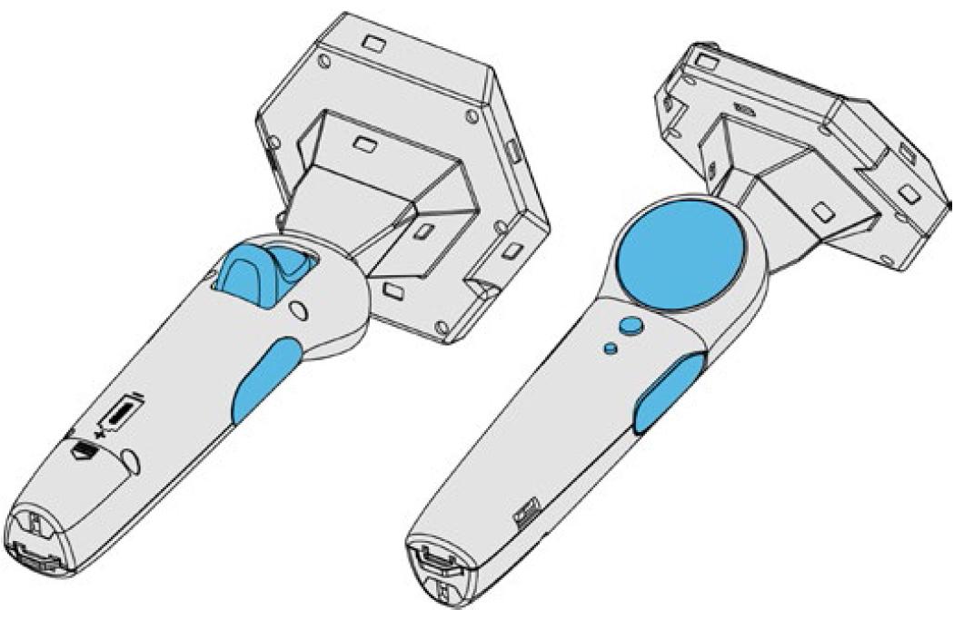 ValveのLighthouseトラッキング技術で駆動する。SteamVRコントローラー。親指部分にタッチパッドを装備。先端部分がデカいのは、トラッキング用光センサーを死角が無いように配置しているためだ