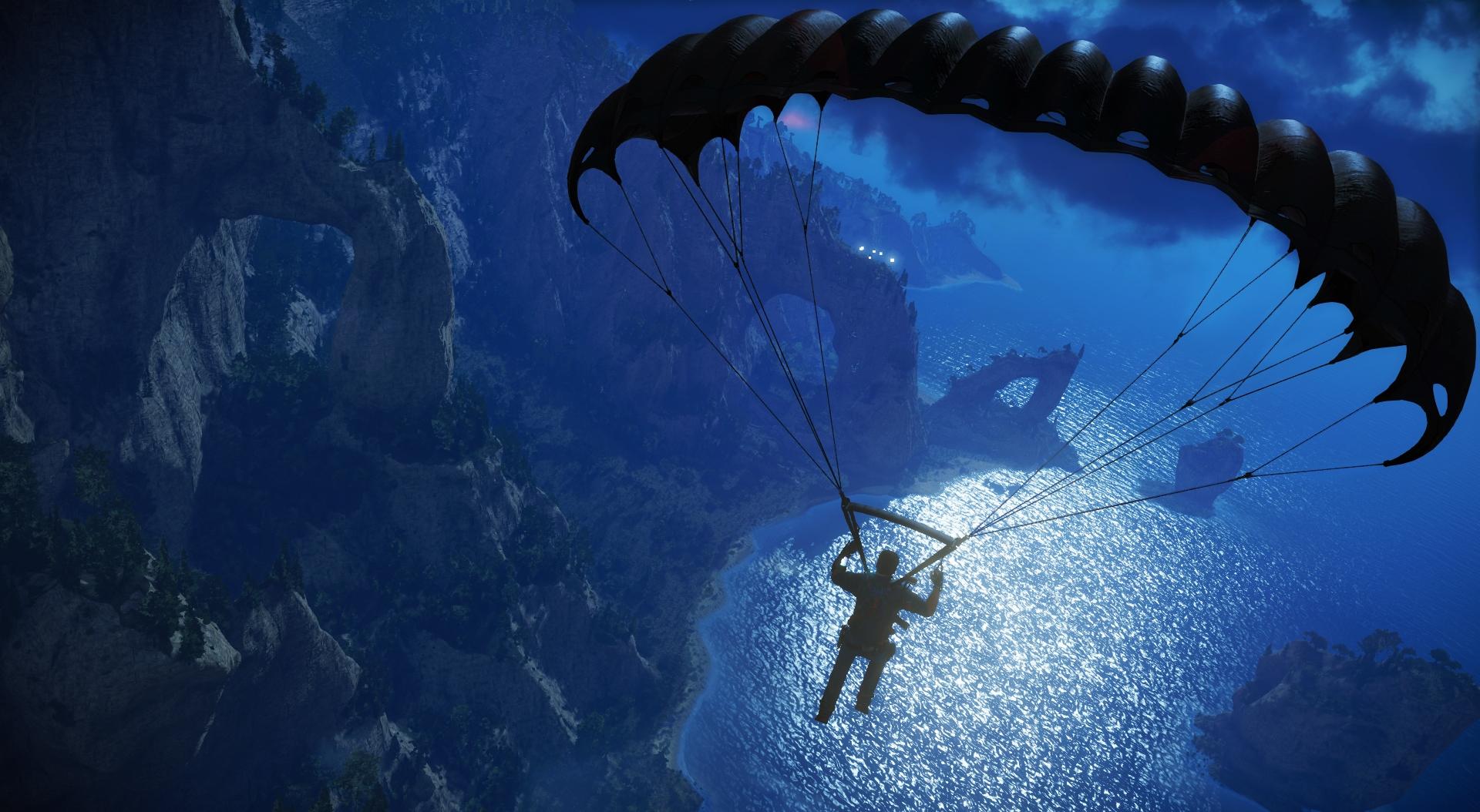 パラシュートは様々な場面で使える。自由落下は高速移動に便利だ