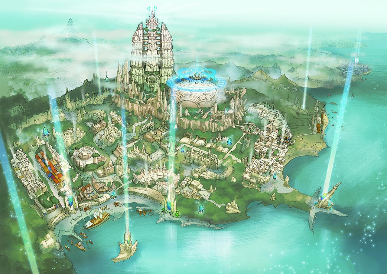 ティル・ナ・ノーグの首都であるセールンドのアートイメージ。ティル・ナ・ノーグは光によって繁栄した世界だ