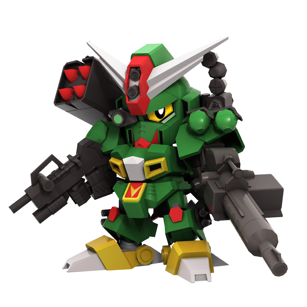 全身に火器を装備した戦いのプロフェッショナル。重機関砲とミサイルランチャーを合体させた「メガランチャーモード」は高い火力を誇る