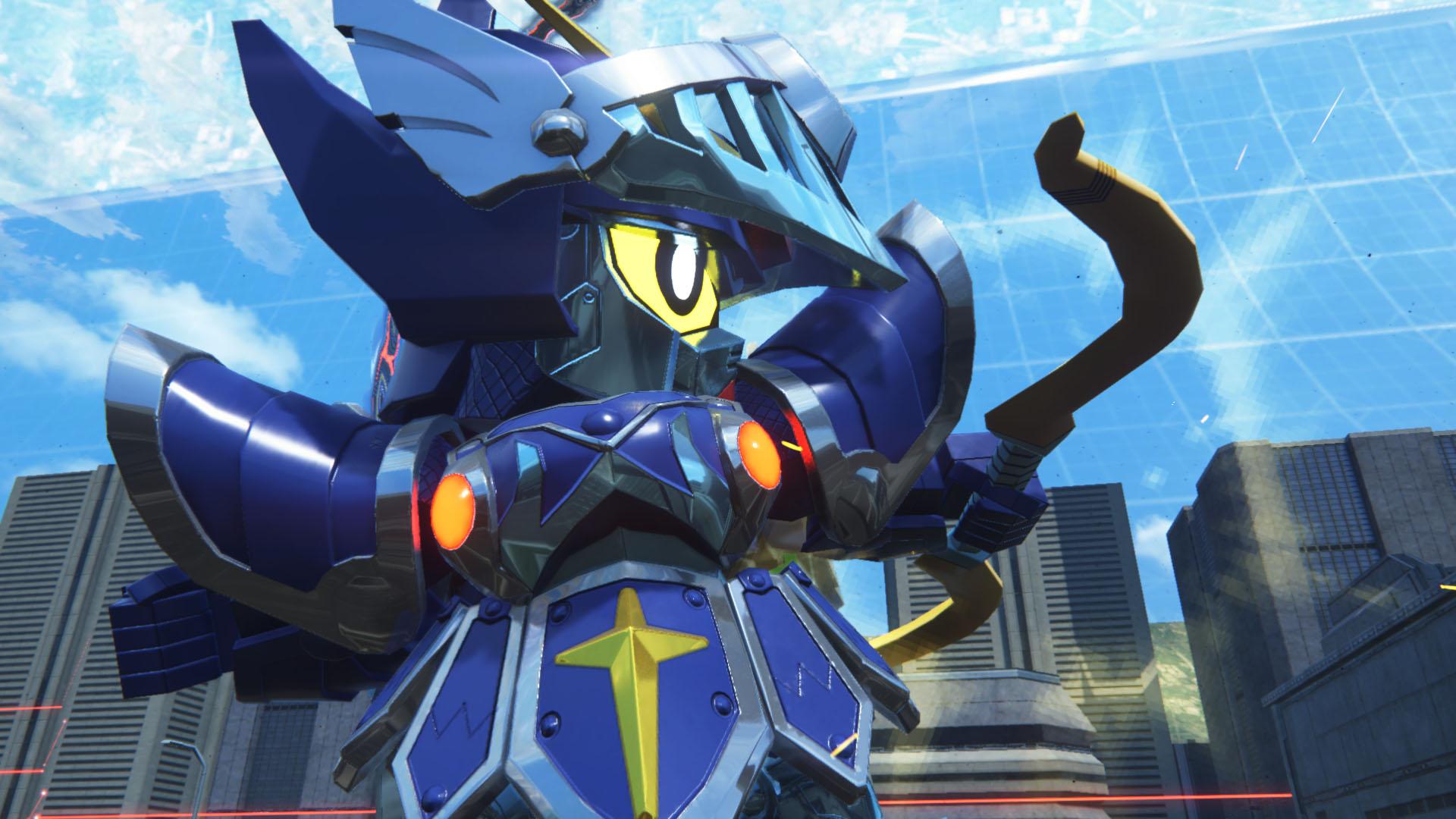 三種の神器を装備した騎士ガンダムの姿。手にした「炎の剣」は敵を焼き払い、「光の弓矢」は悪を穿つ