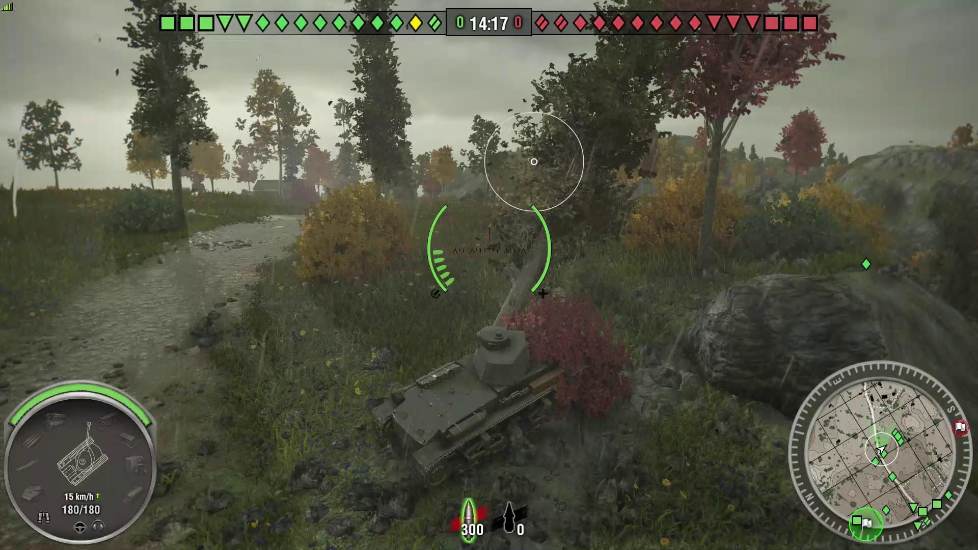 軽戦車は装甲が薄い。正面から撃ち合わず、木や茂みに隠れることを覚えよう