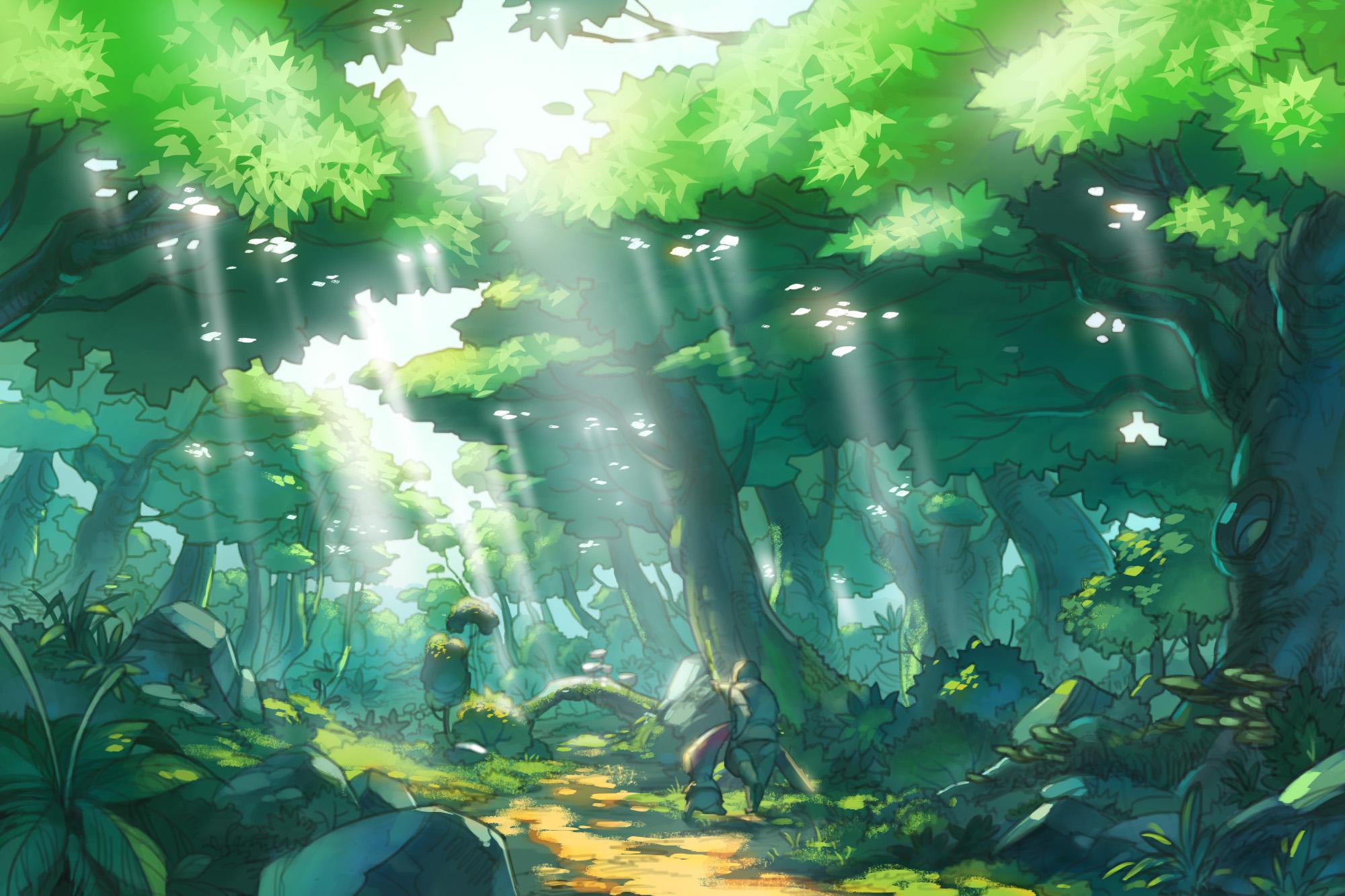 """<strong class="""""""">「未明の森」</strong><br class="""""""">うっそうとした広葉樹林が果てしなく広がる大陸最大の森林地帯。大陸の肥沃な大地の象徴でもある。果実や野草など、森の恵みに溢れており、ドラグニール村の住人にとって、かけがえのない場所である"""