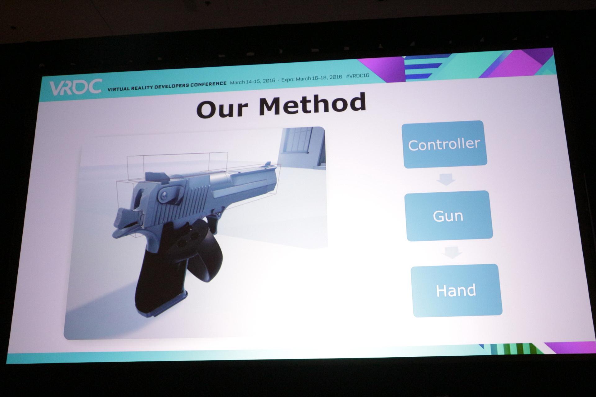 手をメインにしたOculus「Toybox」と、銃をメインにした「BulletTrain」における考え方の違い