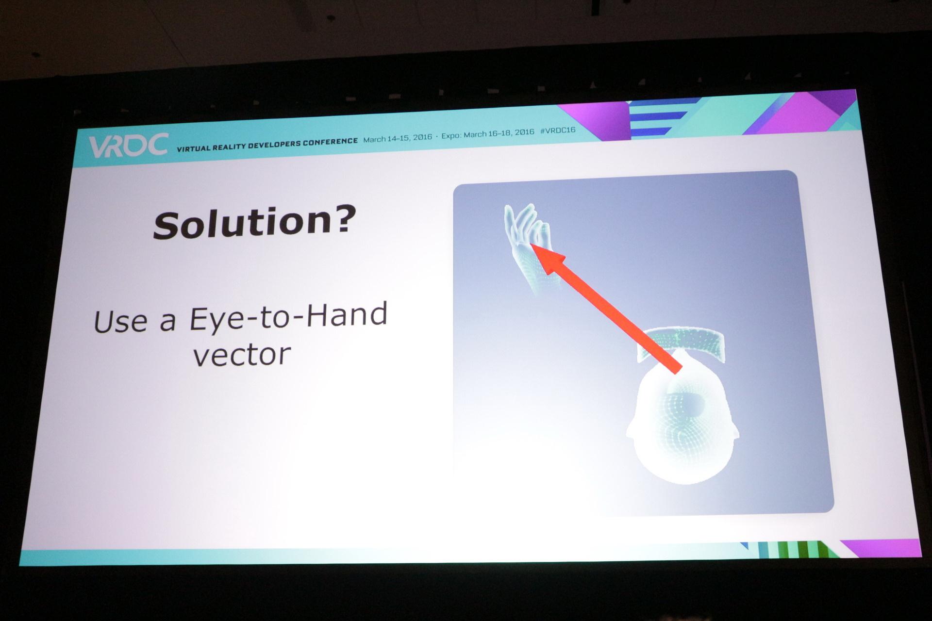 目から手への方向で、手がオブジェクトに触れるための当たり判定を引き延ばす