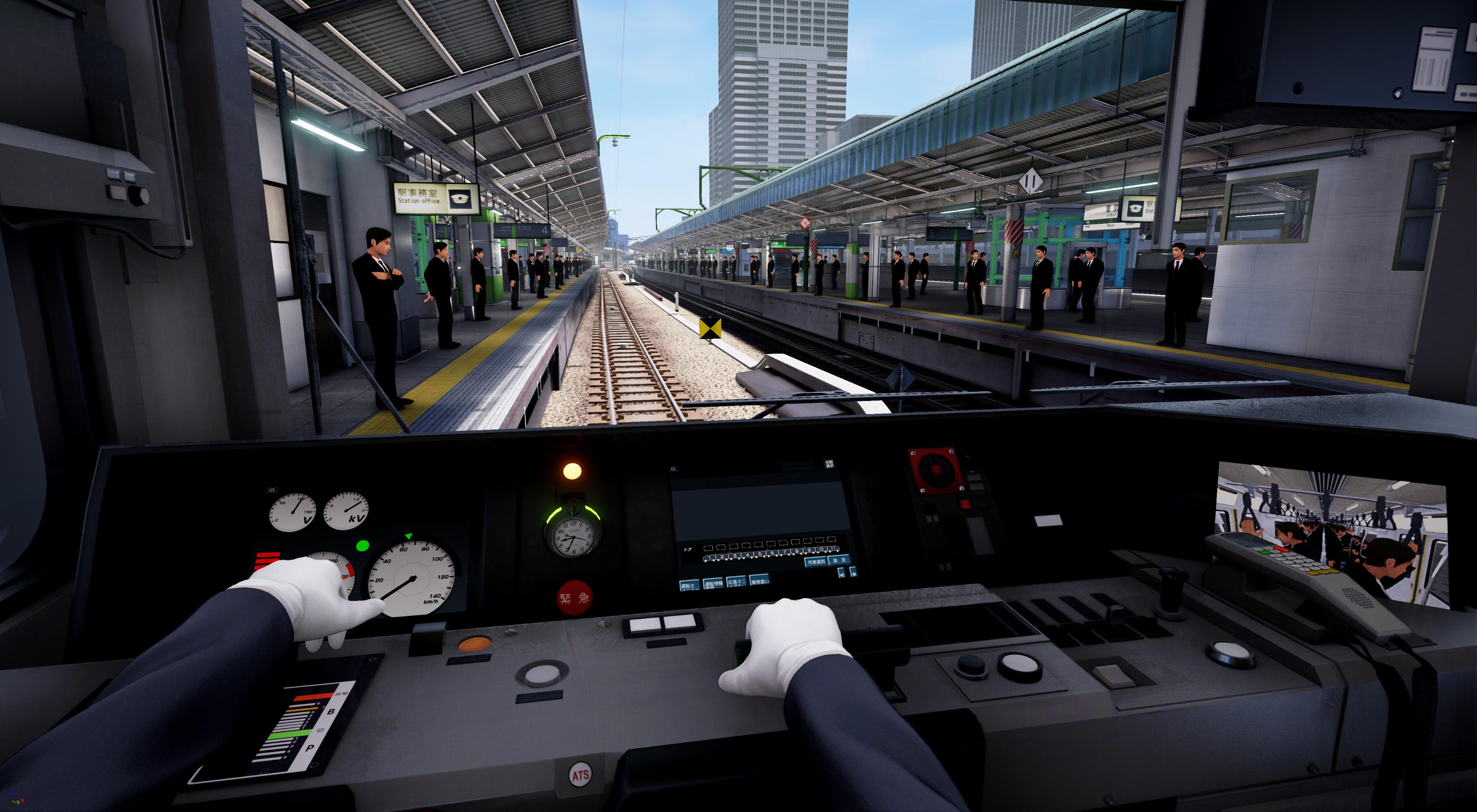実車同様の装置を使って電車を運転。専用の可動チェアのおかで、加速や減速時のGも感じられる