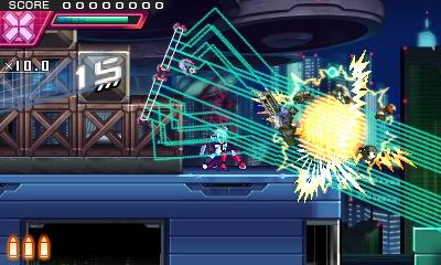 敵をマーキングした状態での放射は、レーザーが集中して高ダメージを与えることができる