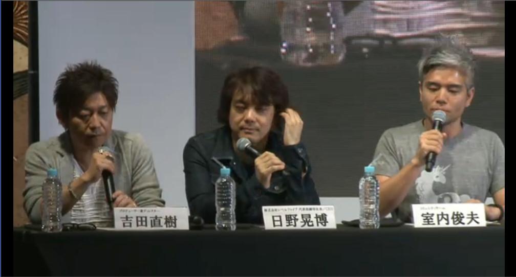 プロデューサー兼ディレクターの吉田直樹氏(左)とレベルファイブ代表取締役社長の日野晃博氏(中央)、コミュニティーチームの室内俊夫氏(右)