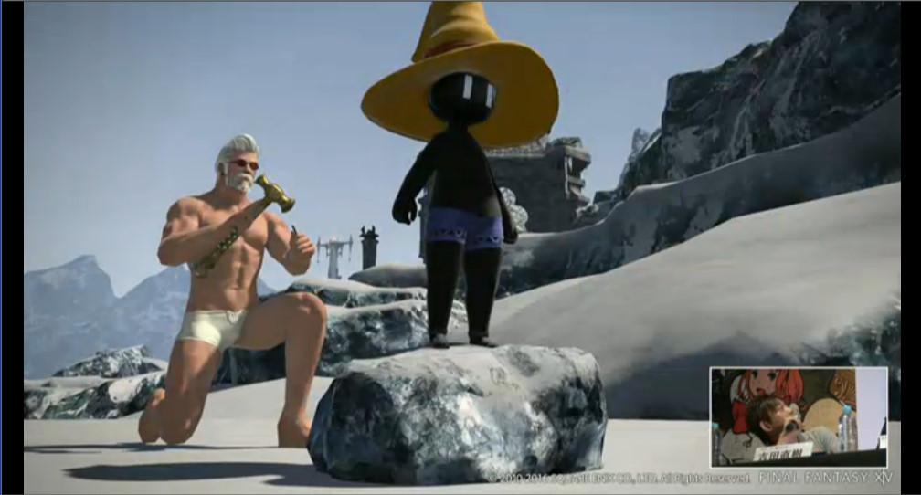 「黄色マジックハットに青いパンツのあの人がぬぐとこんな感じになります」(吉田氏)という姿。こんな寒そうなところで何をしているのか?