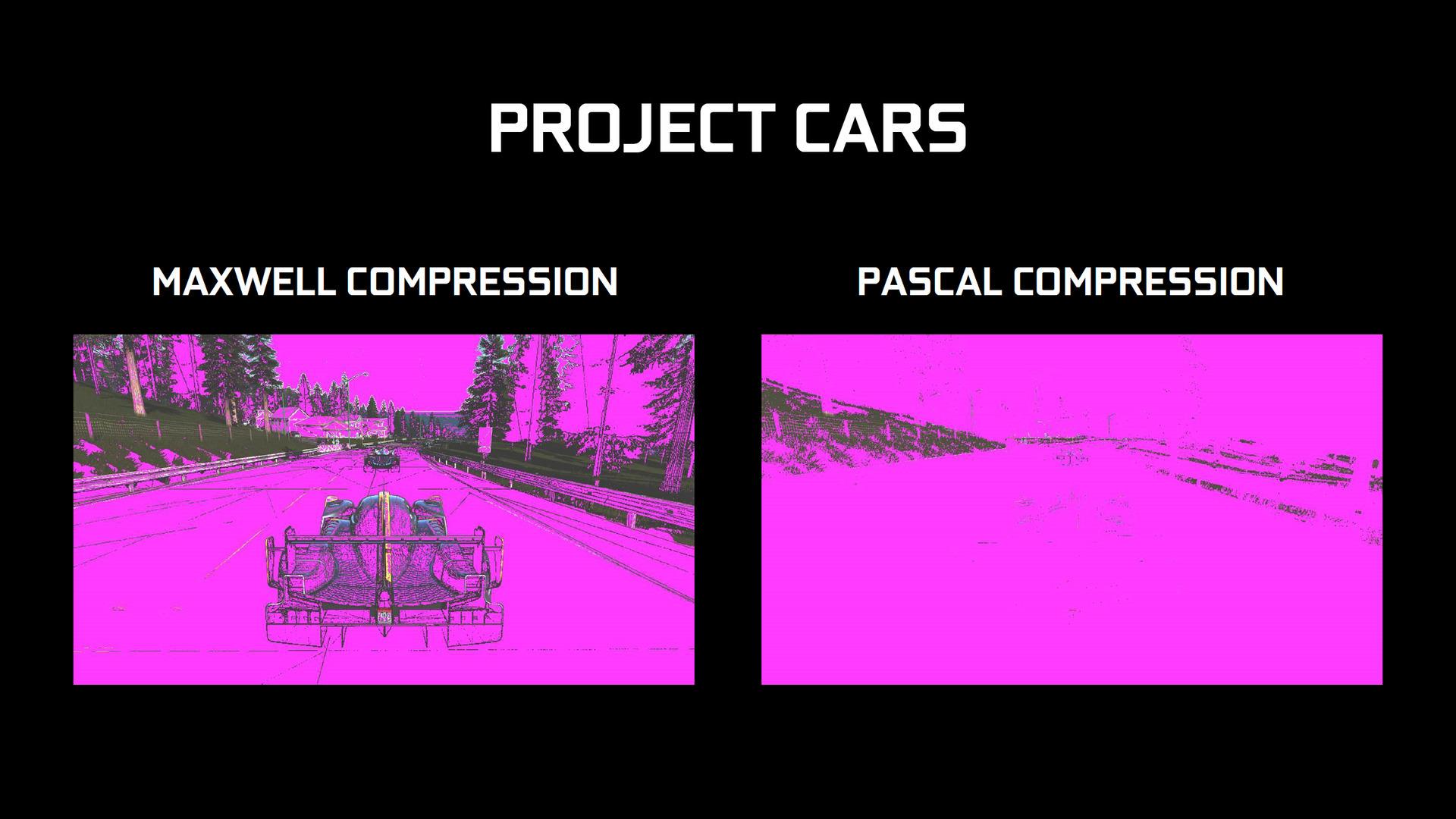 「Project Cars」での比較。Maxwellではエッジ部分が圧縮できずに残っていたところも、Pascal世代ではしっかり圧縮できているとする図