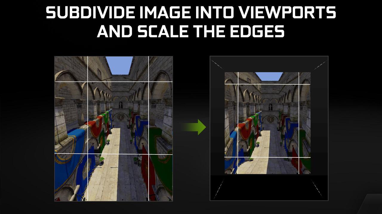 無駄に大きく描画される視野端の部分を低解像度で描画するMulti-Res Shading。Maxwellで実装された